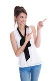 Mujer de negocios que señala con los fingeres - aislados. Fotos de archivo
