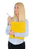 Mujer de negocios que señala el lado fotos de archivo libres de regalías