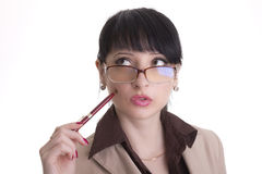 Mujer de negocios que se pregunta Imágenes de archivo libres de regalías