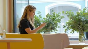 Mujer de negocios que se sienta en una tabla en un café de consumición del café y que trabaja en un ordenador portátil almacen de metraje de vídeo
