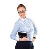 Mujer de negocios que sostiene la libreta disponible Fotos de archivo