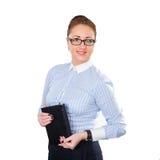 Mujer de negocios que sostiene la libreta disponible Imagenes de archivo