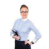 Mujer de negocios que sostiene la libreta disponible Imagen de archivo libre de regalías