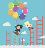 Mujer de negocios que sostiene los globos para arriba en el cielo Imagen de archivo libre de regalías