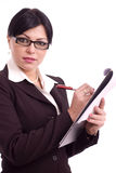 Mujer de negocios que sostiene un fichero Fotos de archivo libres de regalías