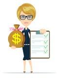 Mujer de negocios que sostiene un papel con las banderas verdes y el bolso del dólar, efectivo del oro, vector Imágenes de archivo libres de regalías