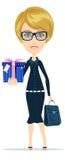 Mujer de negocios que sostiene un regalo para usted, vector Fotografía de archivo libre de regalías