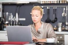 Mujer de negocios que trabaja de hogar Fotos de archivo