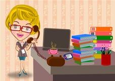 Mujer de negocios que trabaja en oficina stock de ilustración