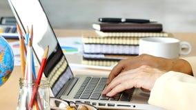 Mujer de negocios que usa el ordenador portátil metrajes