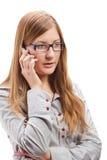 Mujer de negocios que usa el teléfono móvil Imagen de archivo libre de regalías