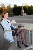 Mujer de negocios que usa la tableta en hora de la almuerzo. Foto de archivo libre de regalías