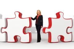 Mujer de negocios - rompecabezas rojos Fotografía de archivo