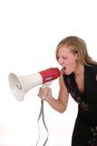 Mujer de negocios rubia agresiva atractiva 3 Imágenes de archivo libres de regalías