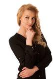Mujer de negocios rubia caucásica bastante pensativa que mira en copia Fotografía de archivo libre de regalías