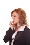 Mujer de negocios rubia nerviosa Imagen de archivo libre de regalías