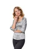 Mujer de negocios sobre el fondo blanco Imagen de archivo libre de regalías