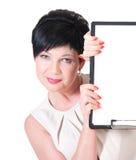 Mujer de negocios sonriente con el espacio en blanco Fotografía de archivo