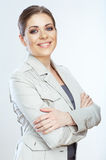 Mujer de negocios sonriente dentuda aislada en fondo del whte Imágenes de archivo libres de regalías
