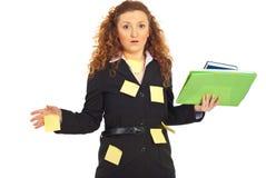 Mujer de negocios tensionada ocupada Fotos de archivo libres de regalías