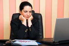Mujer de negocios triste en oficina Imágenes de archivo libres de regalías