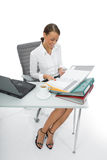 Mujer de negocios y computadora portátil Imagenes de archivo