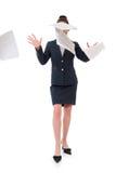 Mujer de negocios y papel del vuelo Imagen de archivo