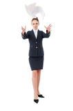 Mujer de negocios y papel del vuelo Imagenes de archivo