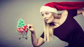 Mujer de Papá Noel que sostiene el carro de la compra con los regalos de la Navidad Fotos de archivo
