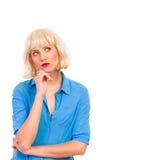 Mujer de pensamiento en la peluca blanca. Fotografía de archivo libre de regalías