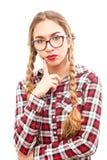 Mujer de pensamiento joven sana en vidrios Imágenes de archivo libres de regalías