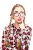 Mujer de pensamiento joven sana en vidrios Imagen de archivo libre de regalías