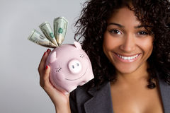 Mujer de Piggybank Imagen de archivo libre de regalías