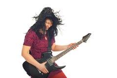 Mujer de risa del guitarrista en el movimiento Foto de archivo libre de regalías