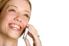 Mujer de risa del teléfono Foto de archivo
