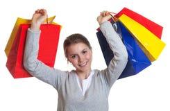 Mujer de risa después de hacer compras Imagenes de archivo