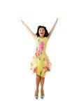 Mujer de salto feliz Imagenes de archivo