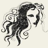 Mujer de Víspera de Todos los Santos del grunge del vector del primer Imagen de archivo libre de regalías