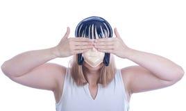 Mujer de Youn en una máscara Fotos de archivo