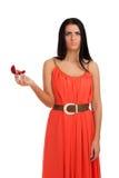 Mujer decepcionada con el anillo de compromiso en rectángulo Foto de archivo libre de regalías