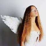 Mujer del ángel con las alas Imagen de archivo libre de regalías
