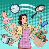 Mujer del éxito de la familia del tiempo de trabajo del ama de casa Imagen de archivo