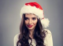 Mujer del Año Nuevo en Santa Hat Fotos de archivo