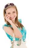 Mujer del adolescente con el teléfono móvil en verano Imágenes de archivo libres de regalías