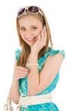 Mujer del adolescente con el teléfono móvil en verano Imagenes de archivo