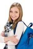 Mujer del adolescente del estudiante con la cartera Imagen de archivo libre de regalías
