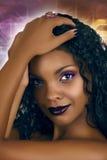 Mujer del africano del disco imagenes de archivo