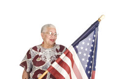 Mujer del afroamericano con el indicador de los E.E.U.U. Foto de archivo libre de regalías