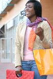 Mujer del afroamericano con los bolsos de compras Imágenes de archivo libres de regalías