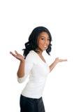 Mujer del afroamericano con los brazos abiertos Foto de archivo libre de regalías